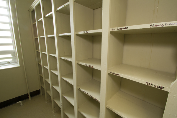 Labelled shelves in storage room on Ward 08
