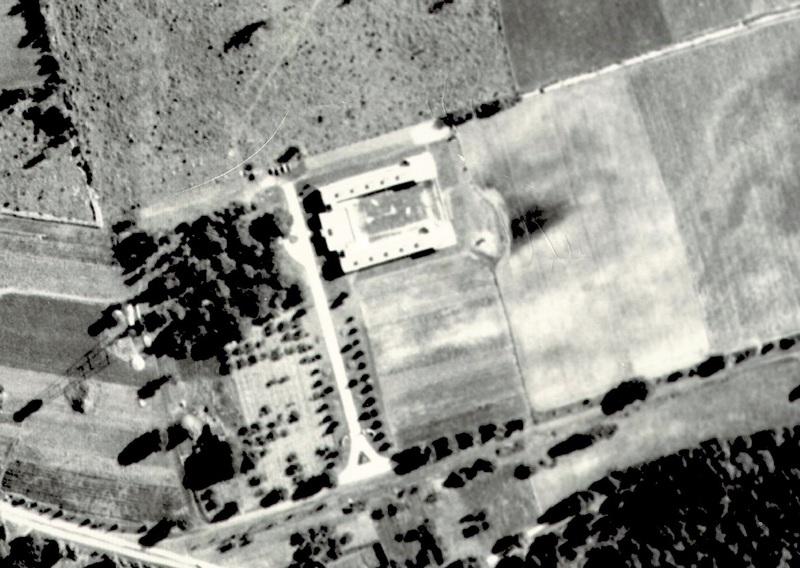 Aerial of Criminal Insane building, pre-1957