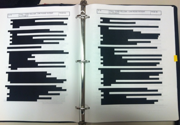 Redacted page from Oak Ridge policy manual