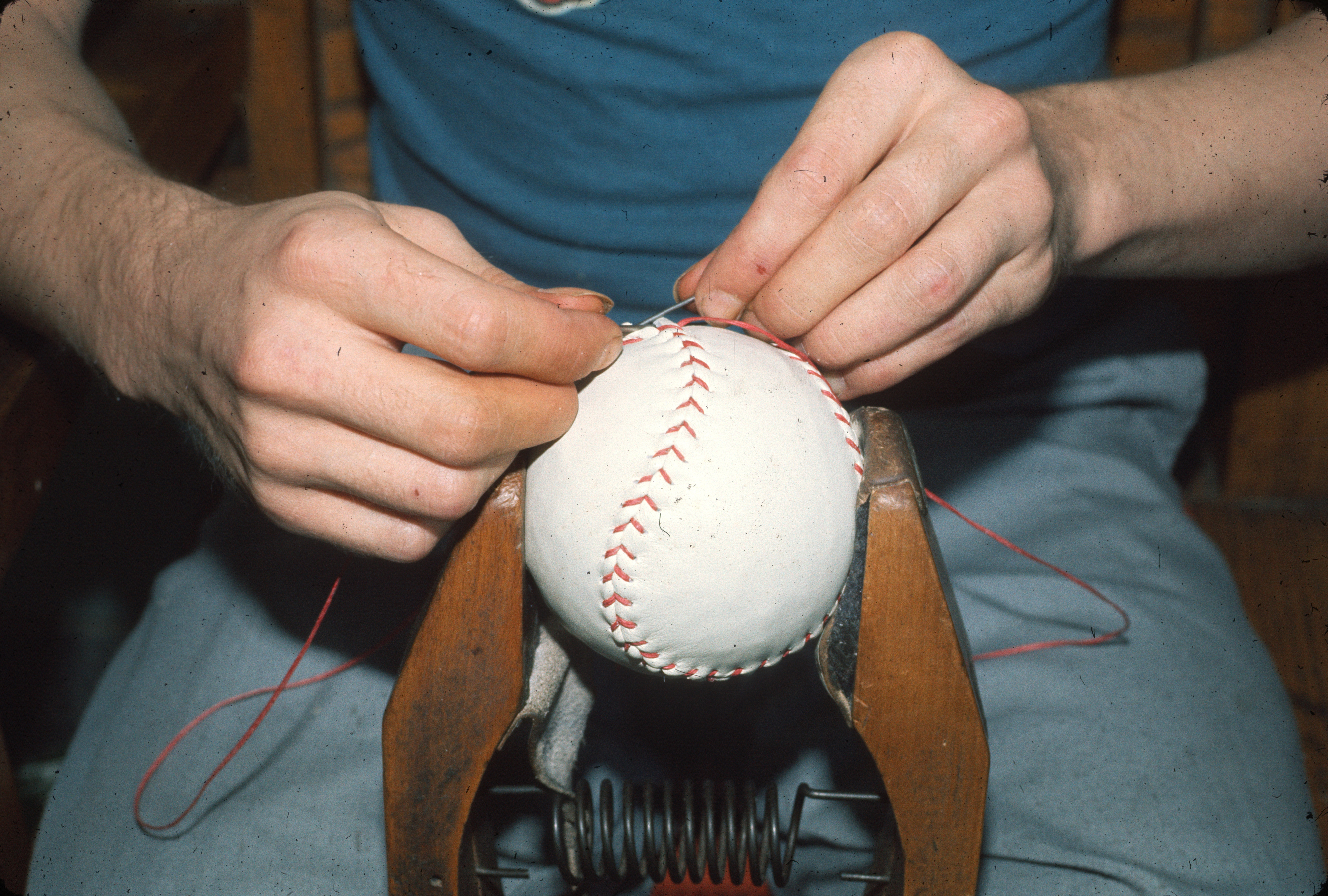 Patient stitching baseball