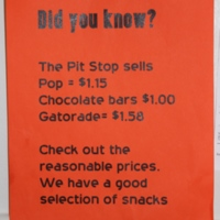 Pit Stop price sheet