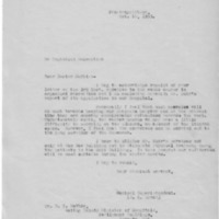 Letter (1933, October 10) concerning course in organized recreation for attendant