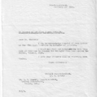 Letter (1933, February 20) confirming arrangements made for patient transfer