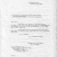 Letter (1933, February 20) concerning local arrangements for the patient transfer