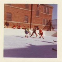 Patients playing ice hockey, Oak Ridge rink, exterior, 1970s-e.jpg