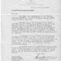 Letter (1933, February 18) regarding details for patient transfer from Guelph to Penetangusihene